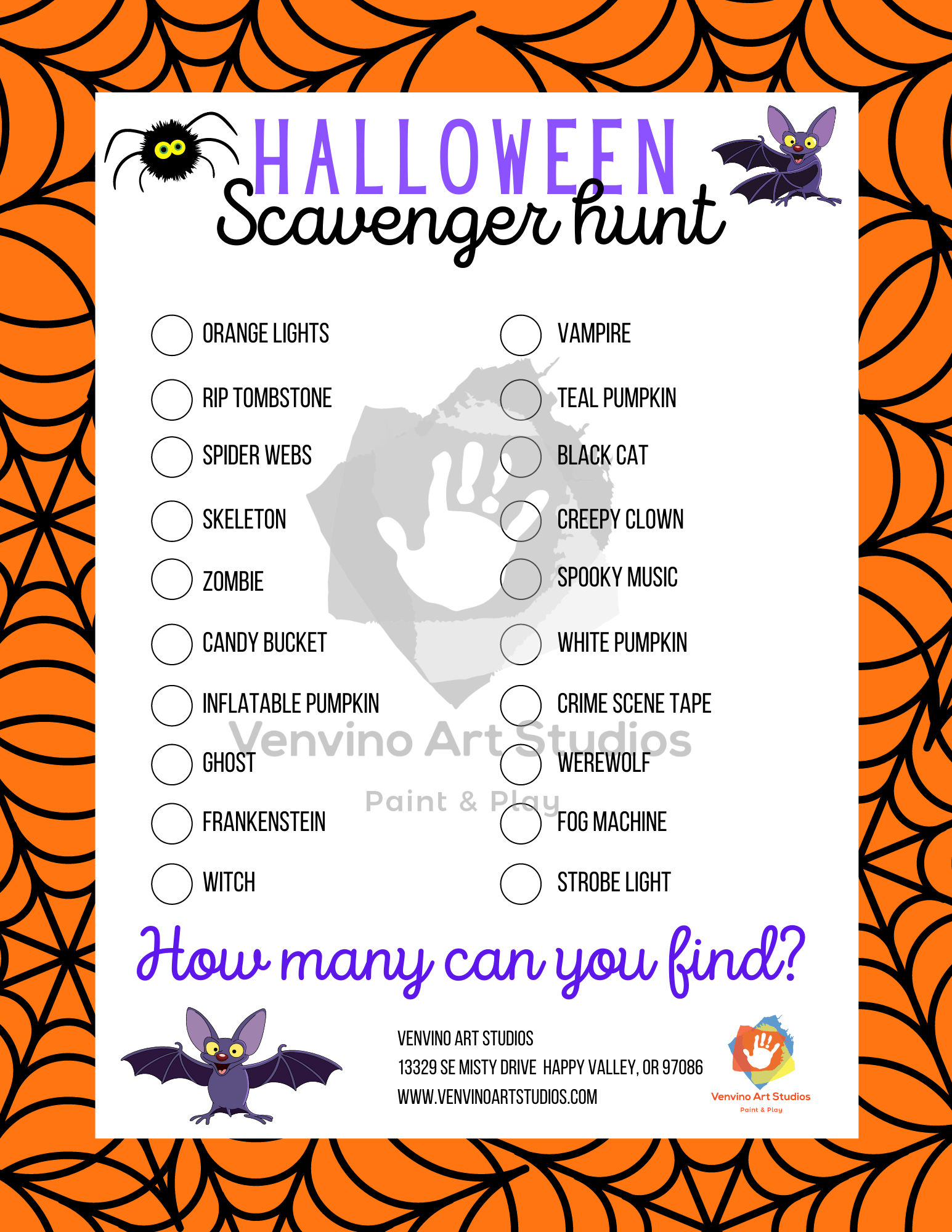 Halloween Scavenger Hunt Worksheet