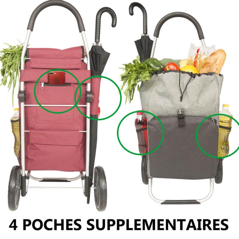 chariot de course caddie cabas a roues pliable avec compartiment isotherme