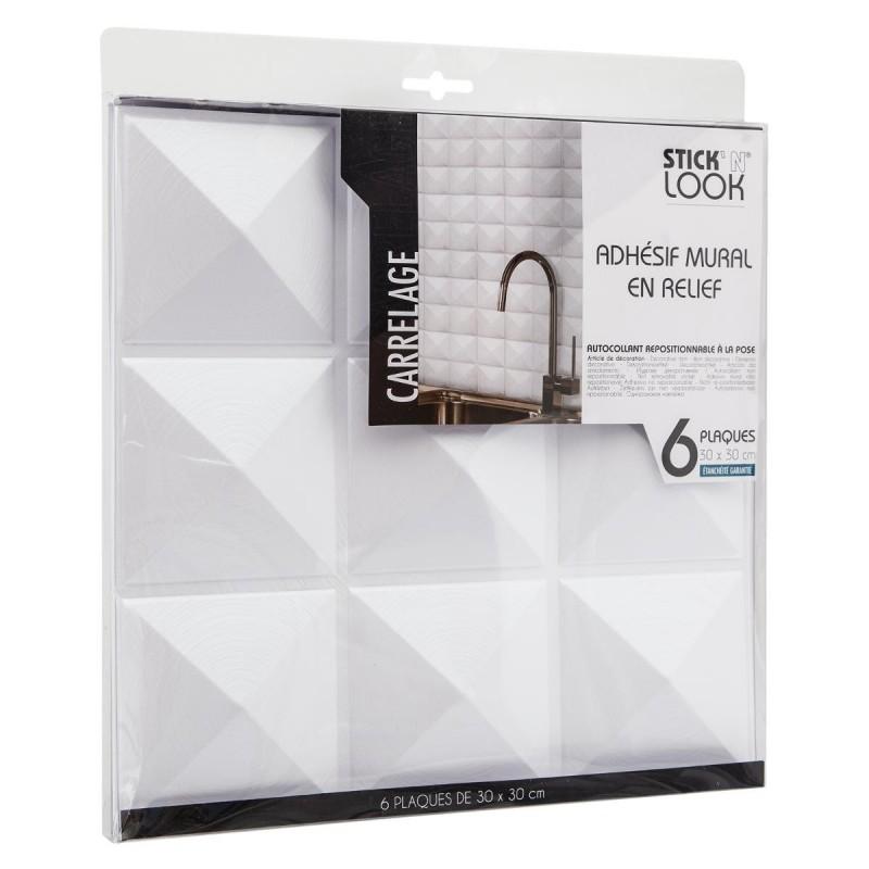 6 stickers carrelage de 9 carres 30x30cm blanc veo shop