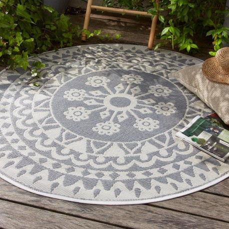 tapis rond rosace en plastique d150cm gris veo shop
