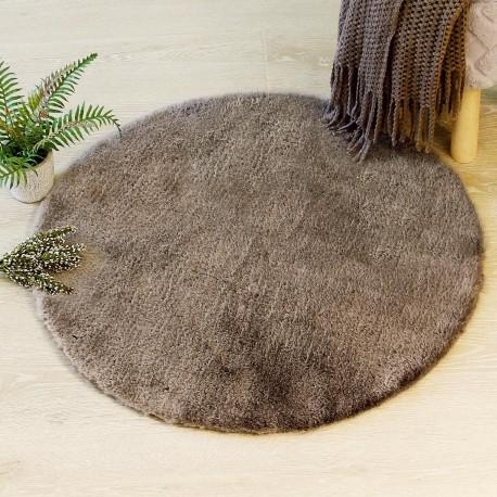 tapis rond en fourrure extra doux d80cm taupe veo shop