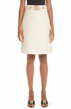 GUCCI Double G Wool & Silk Crepe A-Line Skirt, Main, color, GARDENIA
