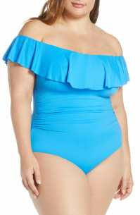 LA BLANCA Off the Shoulder One-Piece Swimsuit, Main, color, CHAMBRAY