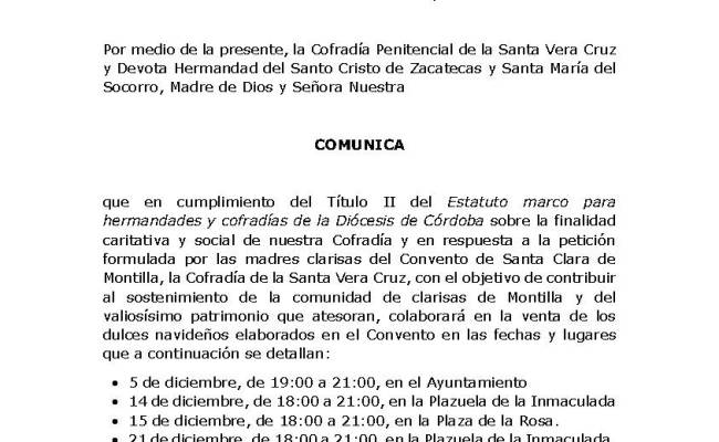 Nota de prensa: Venta de dulces navideños del Convento de Santa Clara