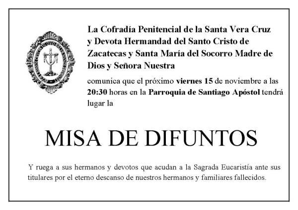 La Cofradía celebrará el 15 de noviembre la misa por sus hermanos difuntos