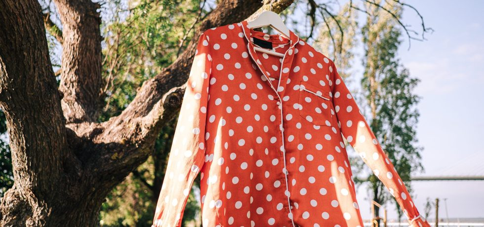 polka-dots shirt hanged on a tree