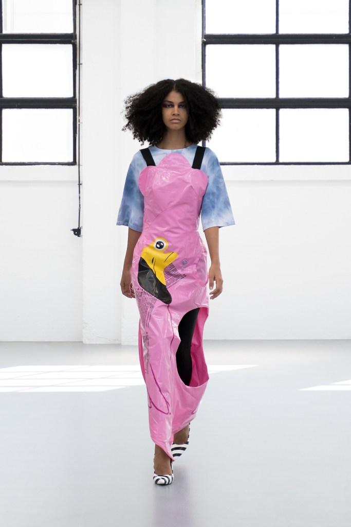 Gilberto-Calzolari-SS2021-21 the famous pink flamingo dress made from leftovers of a floater