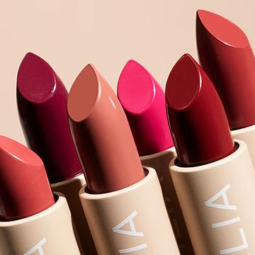 Ilia Lip Care with colour 6 different lipsticks, pink, nudes red, brown, and coral