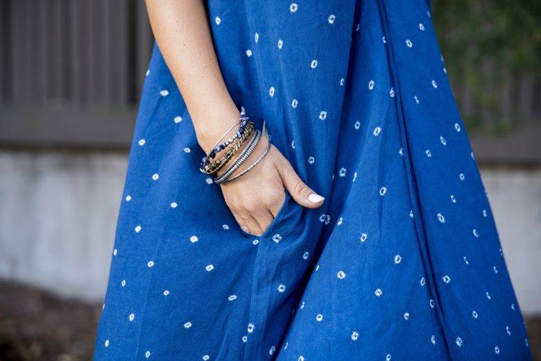 woman wearing a long floral dress milo+nicki - The 8 in1 Dress