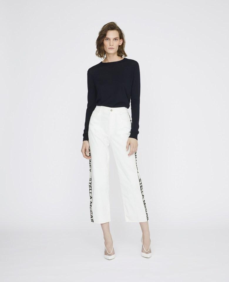 Woman wearing STELLA-MAcCARTNEY-The-Cropped-Jeans