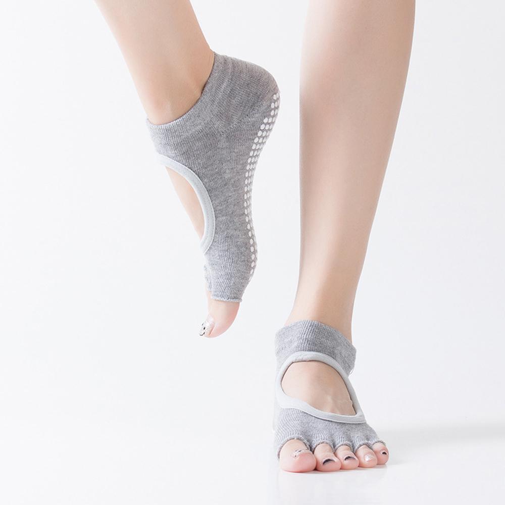 Calcetines Antideslizantes Para Yoga Y Pilates Dedos Expuestos Hengju