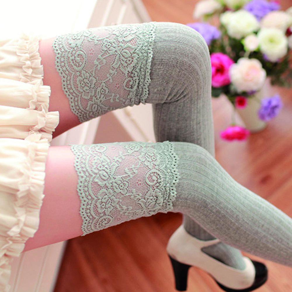 Medias De Encaje Sobre La Rodilla Para Invierno Mujer A La Moda