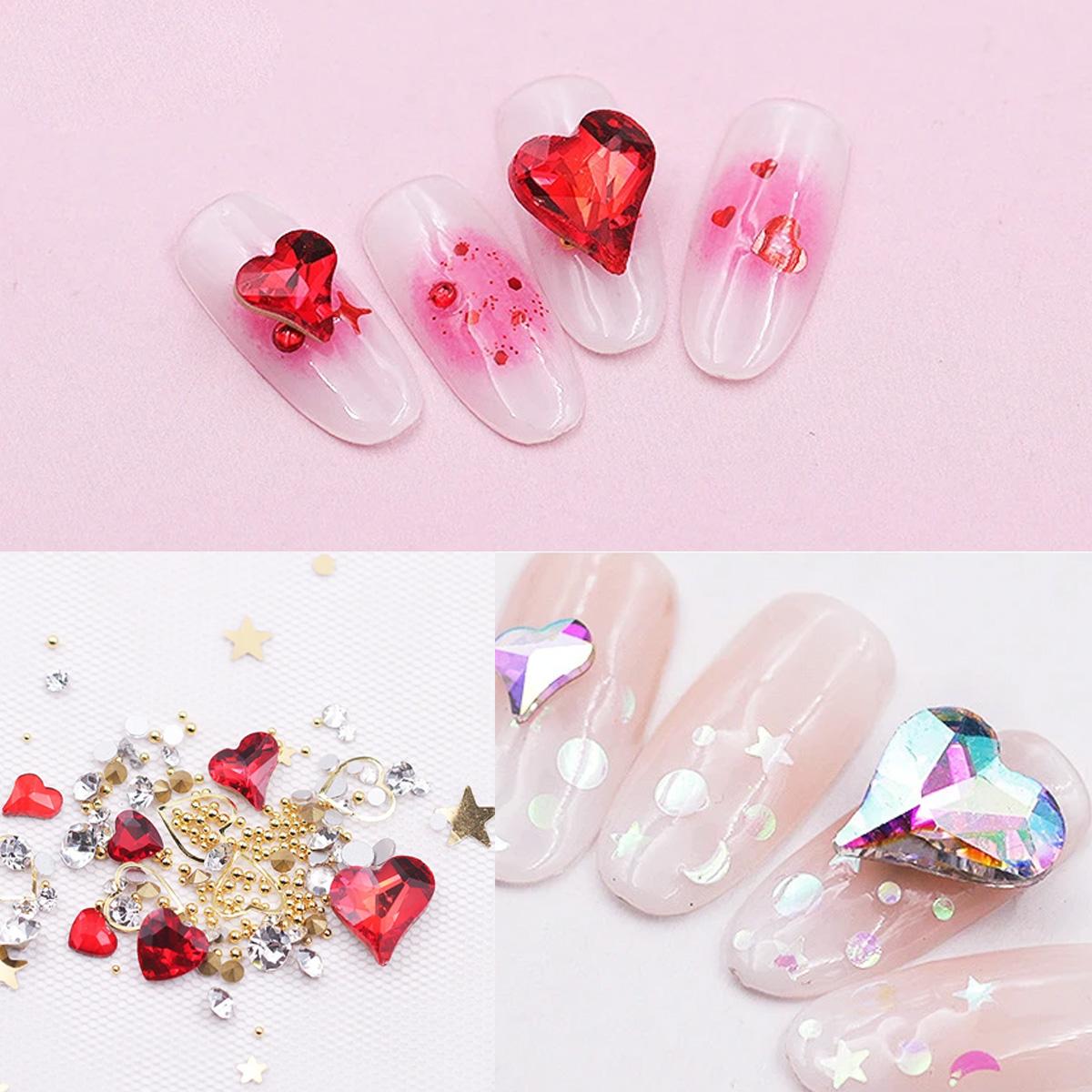 Decoración Para Uñas Pedrería 3D Brillo Corazón Varios Tamaños