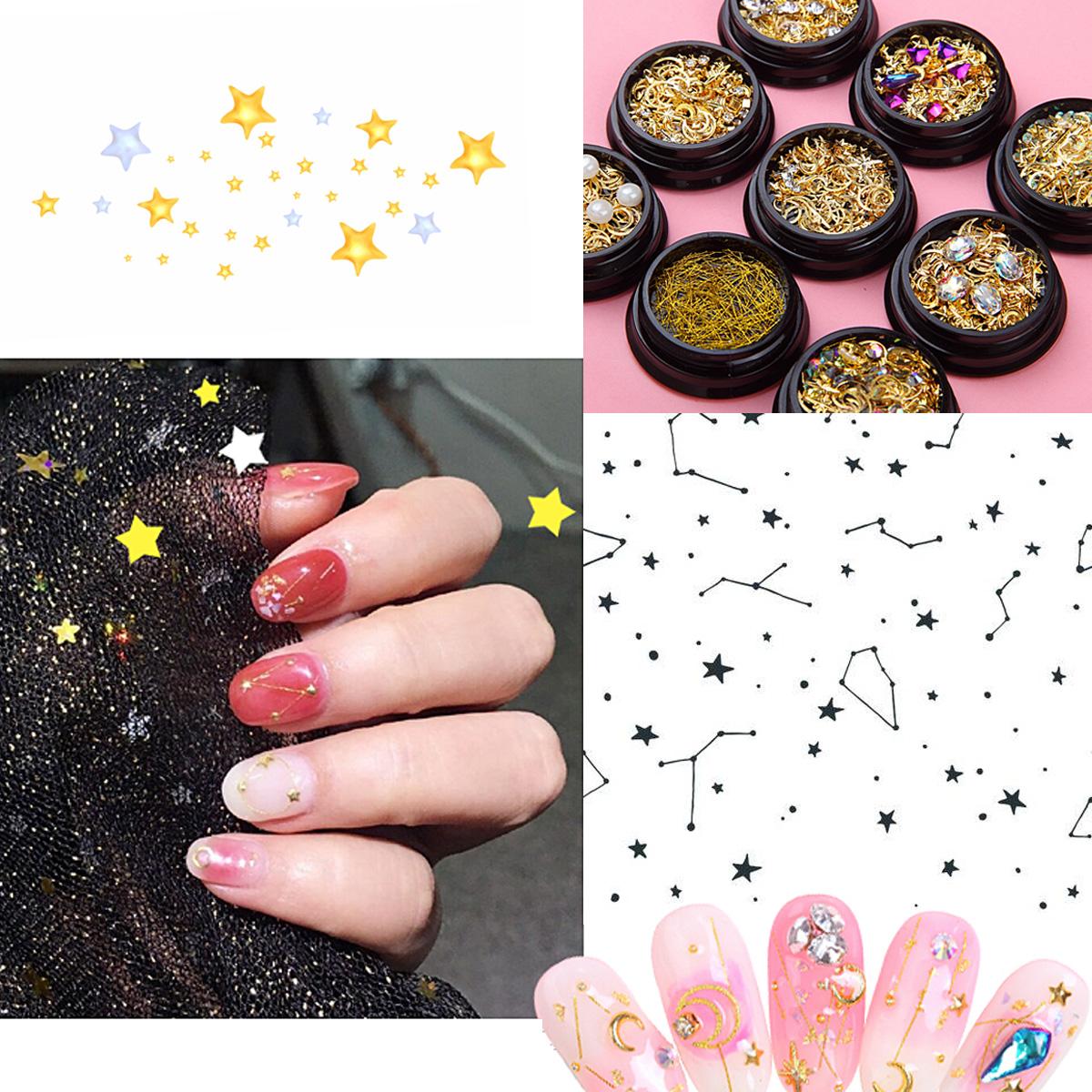 Decoración Para Uñas Conjunto Mixto Luna Estrellas Pedrería 1 Pieza A Elegir