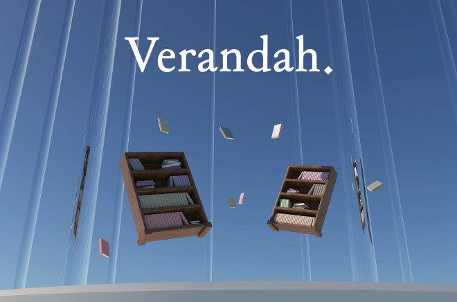 Floating bookcases against a blue background that have books flying out of them. The image says 'Verandah.' at the top of the image in a white font.