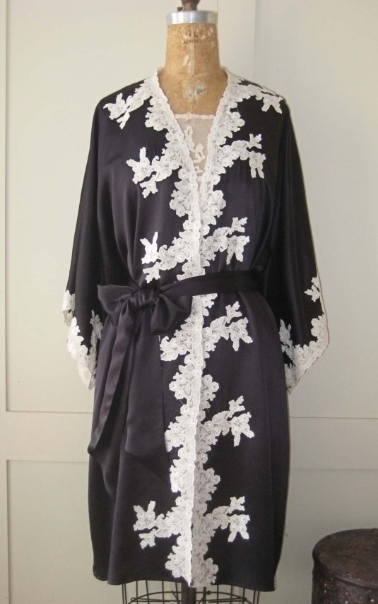 black kimono with hand appliqed lade edges