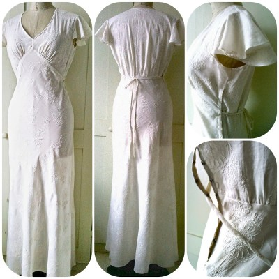 Embroidered cotton bias nightgown made using dress pattern