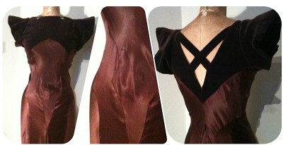 Chestnut Satin & velvet 30's dress