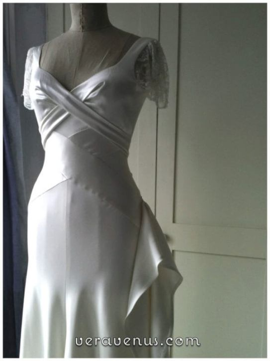 bias satin wedding dress