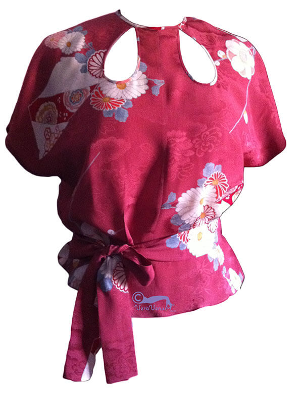 photo of 1930s style simple blouse made from Japanese kimono fabric
