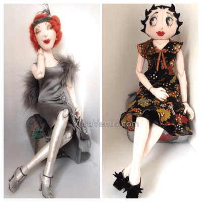 Image of two handmade cloth fashion dolls