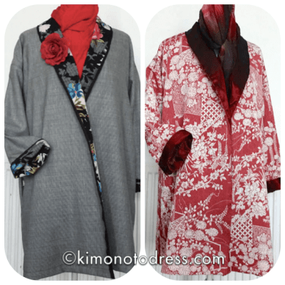 image of two coats by Mariko using vintage kimono fabric