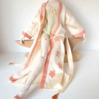 "Hand made silk kimono and slip for 21"" doll"