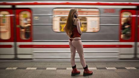 No Pants Subway Ride in Prague, Czech Republic