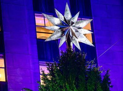 The tree is adorned with a Swarovski crystal-studded star