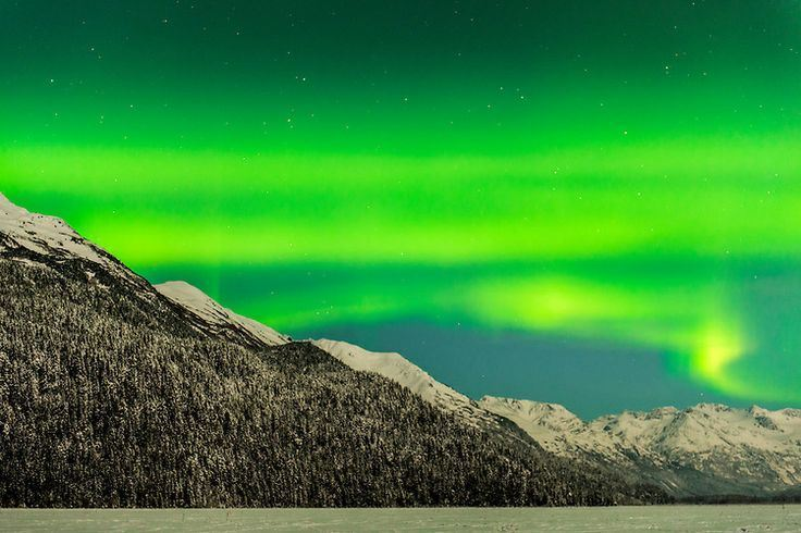 Aurora borealis display over Chugach Mountains near 20 Mile River, Chugach National Forest, Alaska, under a nearly-full moon.Photo - Carl Johnson
