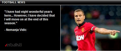 vNemanja Vidic announcement of leaving Manchester United