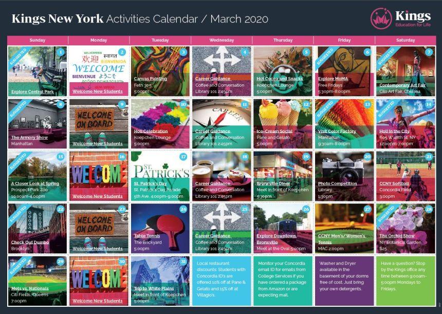 KINGS New York Activities Calendar