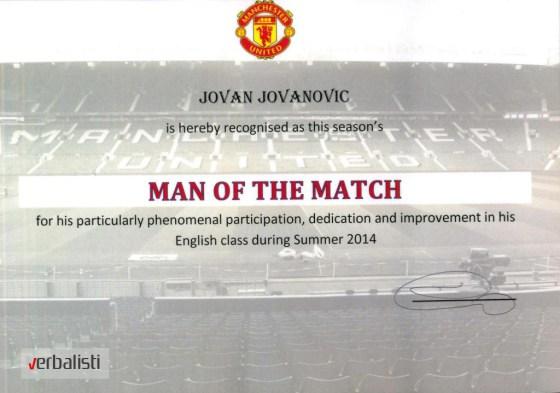 Jovan Jovanovic is Man of the match, Manchester United Soccer School