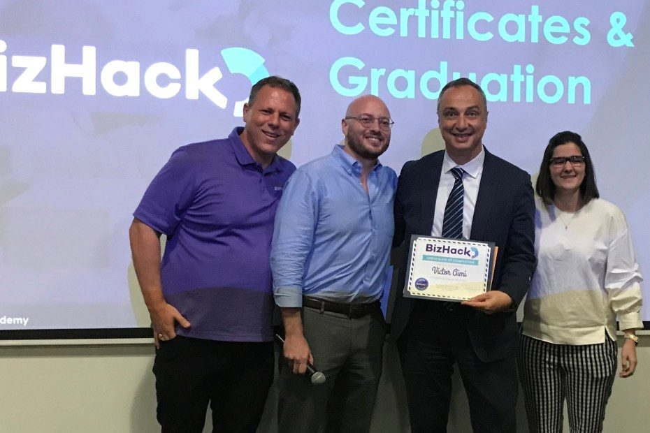 Dan Grech of BizHack at a class graduation in 2019