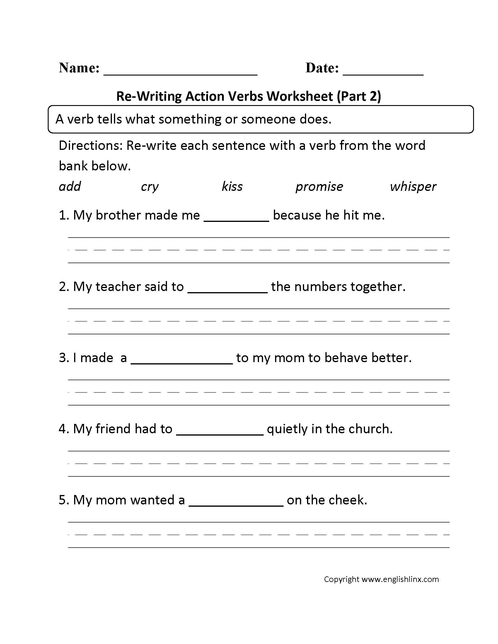 Verbs Worksheet For Grade 2