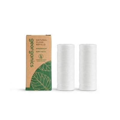 Hilo Dental Vegano Biodegradable - Hierbabuena, 2 recambios de 50m