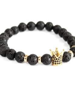 Corona dorada / piedra de lava - pulsera de piedras preciosas