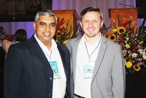El comunicador cristiano George Laguna junto al misionero argentino en Alemania Iván Masalyka
