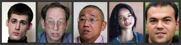 De izq. a der.: Matthew Miller, Jeffrey Fowle, Kennet Bae, Saeed Abedini y Asia Bibi son los casos más emblemáticos de la persecución a cristianos