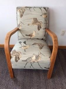 Art Deco Chair upholstered in Godwits 100% Hemp