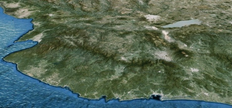 Sierra de la Costa de Jalisco. Imagen de Google Earth