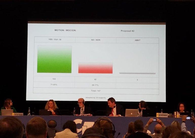 Votación a favor de proteger el tiburón mako en un comité de CITES de la COP18