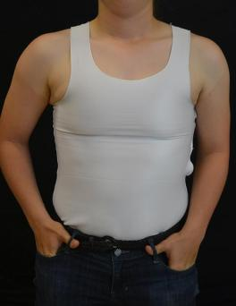 Bound: A model wears a chest binder, which allows people to flatten their chests.