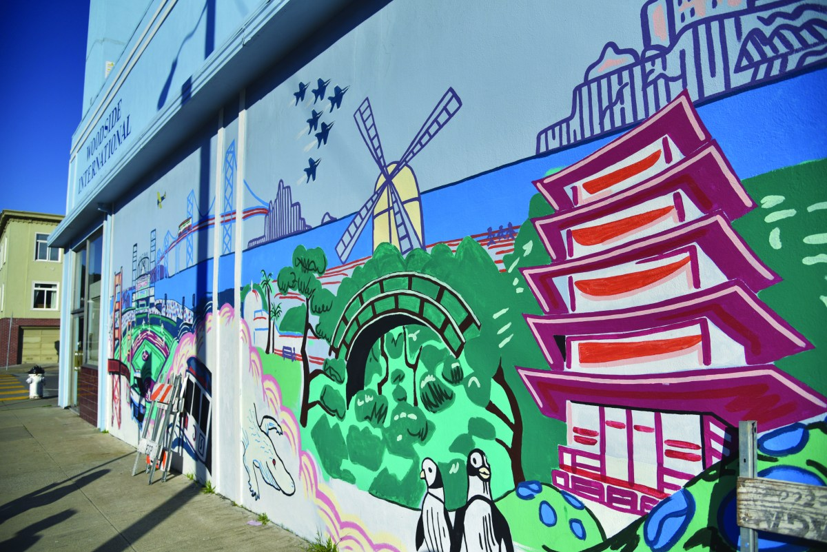 Colorful murals of San Francisco's city skyline are disaplyed on the walls of Woodside Internationl School.