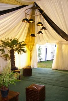 Art Deco 1930's Sparkle Sequin Part Wedding Event Design Styling Bowler Hat Chandelier lighting drapes palm trees ferns mirror lamp Bar lounge seating verdigris event design styling wedding decorations