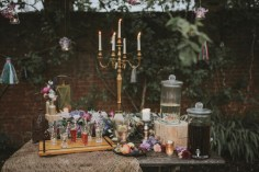 Bohemian Otaduy Dress Wedding Inspiration Outdoor Shoot Flowers Rich Colours Verdigris Event Design Styling Decorations Decor Hambledon House Marie Marry Me Party Table Coctails Tassels