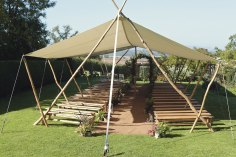 canvass canopy wedding ceremony view garden autumn flowers plants lanterns ceremony arch turning leaves Dewsal Court styling design event (1)