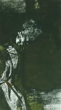 Tánc kényszerből, aquatinta, 49x27 cm, 1991