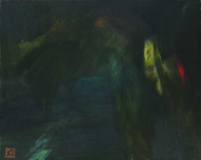 Éjjeli repülés, olaj, vászon, 80x100 cm