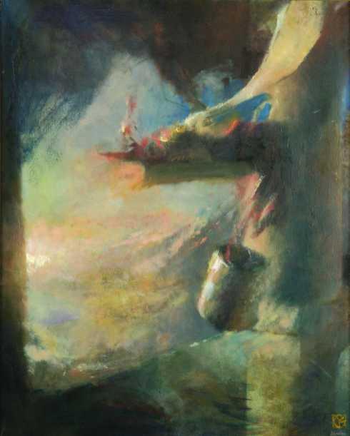 Tiepolo műterme, olaj, vászon, 100x70 cm, 1997